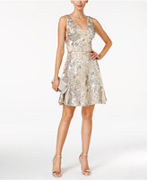 Betsy & Adam Sequin Mesh A-Line Dress