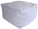 Classic Sky Blue & White Striped Cube Ottoman