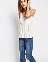 Warehouse Lace Insert Cotton Top