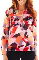 Liz Claiborne Long-Sleeve Split-Neck Top with Cami