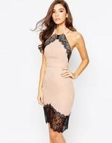 Elise Ryan Body-Conscious Dress With Asymmetric Lace Hem