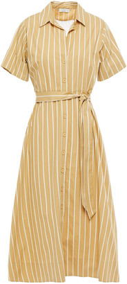 Sandro Stormy Lace-trimmed Striped Cotton-poplin Midi Shirt Dress