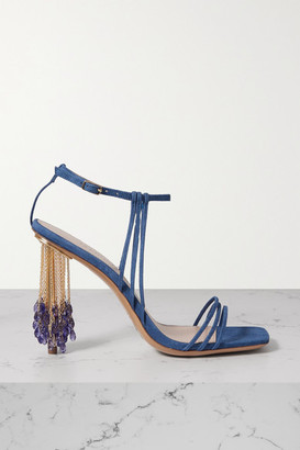 Jacquemus Embellished Suede Sandals - Blue