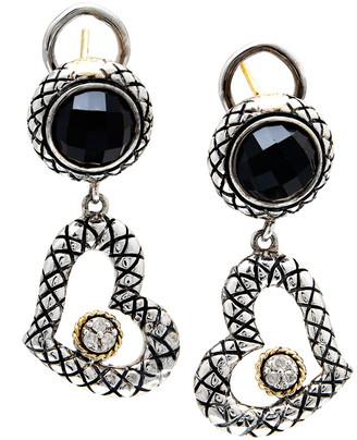 Candela Andrea Trebol 18K & Silver Diamond & Onyx Drop Earrings