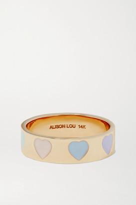 Alison Lou Heart Throb 14-karat Gold And Enamel Ring - 7