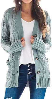 Zesoyne Womens Long Sleeve Cable Knit Sweater Cardigan Open Front Button Outerwear Medium Sage