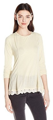 Jolt Women's L/s Knit Top with Lace Hem and Tie Back