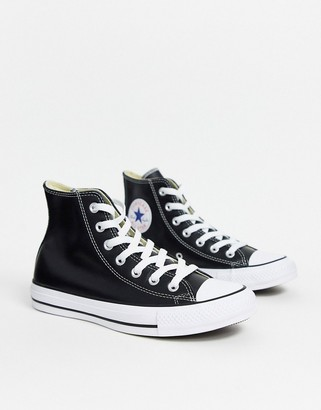 Converse Chuck Taylor All Star Hi black leather trainers