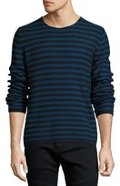 Vince Reverse-Stripe Crewneck Sweater, Navy