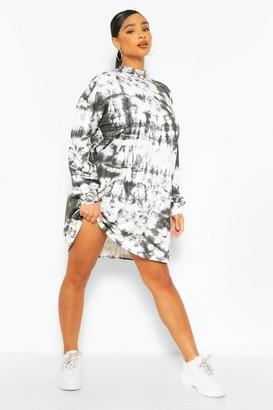 boohoo Plus Tie Dye Oversized Sweat Dress
