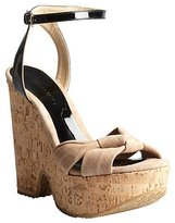 Jimmy Choo nude suede and black patent leather 'Gleam' cork sandals