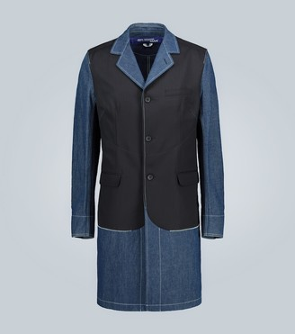 Junya Watanabe Wool and denim paneled coat