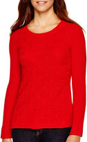 Liz Claiborne Long-Sleeve Shaker Stitch Sweater