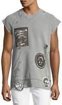 Hudson Rex Cutoff Short-Sleeve Sweatshirt with Patches, Gray