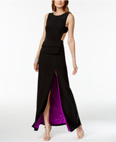 Betsy & Adam Open-Back Two-Tone Gown