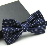 Men's Bow Tie Magicub Adjustable Polyester Polka Dot Bow Tie (Dark Blue/White)