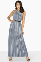Little Mistress Kylie Metal Stripe Skater Maxi Dress