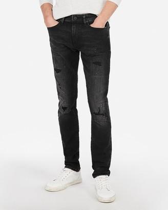 Express Skinny Black Ripped Hyper Stretch Jeans