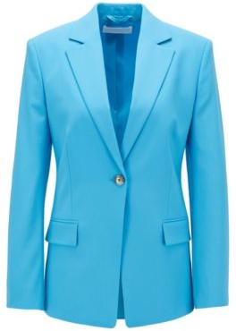 HUGO BOSS Slim Fit Jacket In Traceable Stretch Virgin Wool - Blue