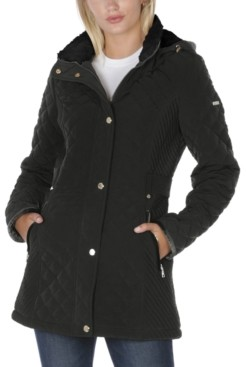 Laundry by Shelli Segal Fleece-Lined Hooded Quilted Coat