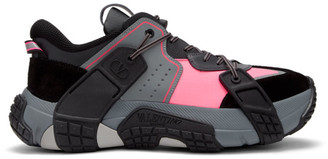 Valentino Black and Pink Garavani VLTN Wod Sneakers