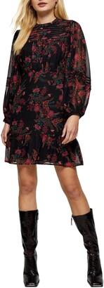 Topshop Paisley Pintuck Long Sleeve Minidress