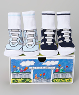 Dimples Black & White Athletic Sneaker Two-Pair Socks Set