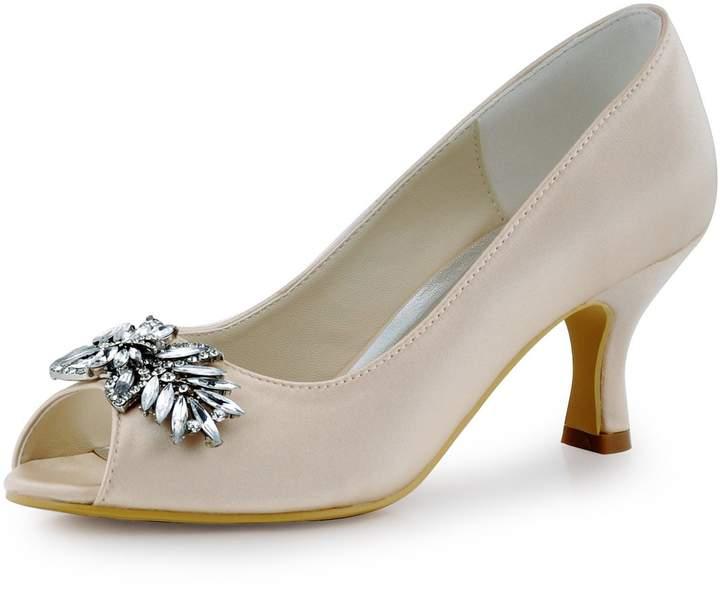 180a9769b2c13 Elegantpark HP1540 Women Pumps Mid Heel Rhinestones Peep Toe Shoe-Clips  Satin Evening Party Shoes US 5
