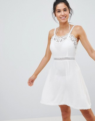 Glamorous Crochet Trim Beach Dress