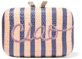 Kotur Ciao Morley Embroidered Raffia Box Clutch - Blush