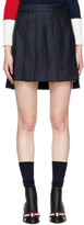 Thom Browne Navy Dropped Back Pleated Miniskirt
