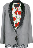 Alexander Wang lace trim pinstriped blazer - women - Silk/Mohair/Wool - 6