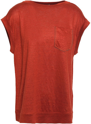 Brunello Cucinelli Bead-embellished Slub Linen And Silk-blend Jersey T-shirt