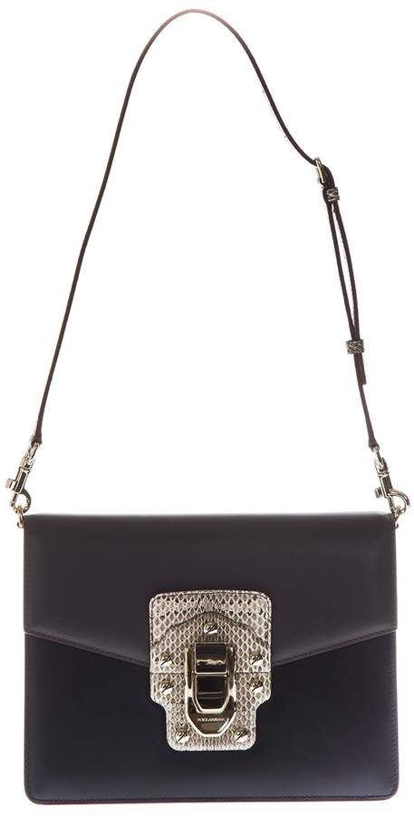 Dolce & Gabbana Leather And Ayers Shoulder Bag 'lucia'