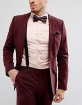 Asos WEDDING Dark Floral Bow Tie Pocket Square & Suspenders Set