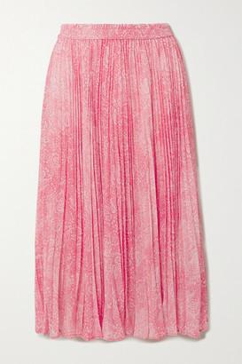 MICHAEL Michael Kors Pleated Paisley-print Chiffon Midi Skirt - Peach