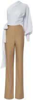 Jonathan Simkhai Silk Stripe One Shoulder Jumpsuit