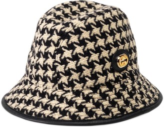Gucci Houndstooth fedora hat