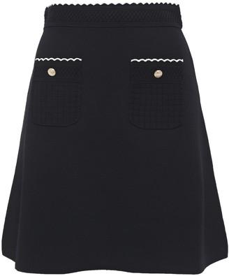 Sandro Jacquard Knit-paneled Button-embellished Ponte Mini Skirt