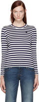 Comme des Garcons Navy and White Striped Small Heart Patch T-shirt