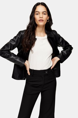 Topshop Womens Black Leather Fitted Jacket - Black