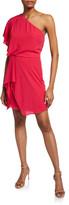 Halston Flowy One-Shoulder Mini Dress with Draped Skirt
