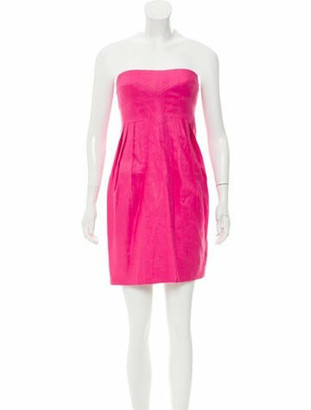 Versace Strapless Linen Dress Pink