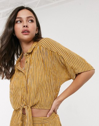 Band of Gypsies Band Of tie front crop shirt