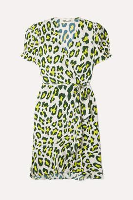 Diane von Furstenberg Emilia Leopard-print Crepe Wrap Mini Dress - Yellow
