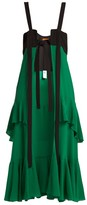 Colville - Open-front Silk And Wool Dress - Womens - Green Multi