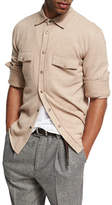 Brunello Cucinelli Wool-Cashmere-Silk Knit Overshirt