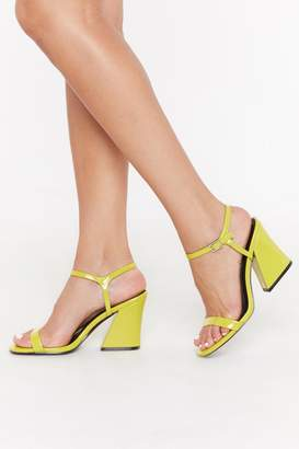 Nasty Gal Womens Notch Again Patent Block Heels - Green - 3, Green