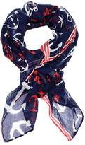 Lulu Nautical Navy Anchor Print Rectangle Scarf in Red, White and Blue