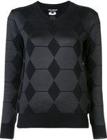 Junya Watanabe Comme Des Garçons - diamond panel v-neck jumper - women - Polyester/Wool - S